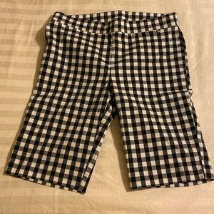 Rafaella  black + white checked stretchy shorts 8